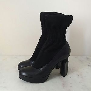 FENDI - geometric heel suede sock boot